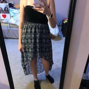 Strapless dress shirt in front longer in back